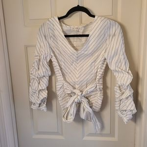 Jane and Delancey Ruffle Sleeve Tie Front Blouse